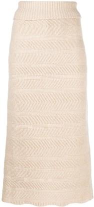 Lemaire Scallop-Hem Chevron-Knit Skirt