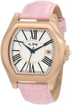 A Line a_Line Women's 80008-RG-02-PK Adore Pink/Rose Gold-Tone Leather Watch