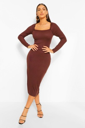 boohoo Rib Square Neck Button Detail Midaxi Dress