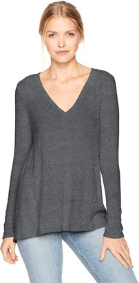 Michael Stars Women's Madison Brushed Jersey V-Neck Long Sleeve Top