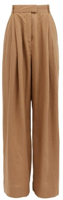 Three Graces London Molly High-rise Linen Trousers - Khaki