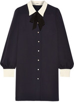 Miu Miu Sable Georgette Shirt Dress - Midnight blue