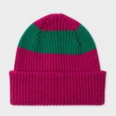Paul Smith Men's Raspberry Pink Ribbed Lambswool Beanie Hat With Green Stripe