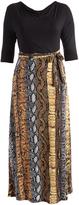 Glam Black & Yellow Snake Print Tie-Waist Maxi Dress - Plus