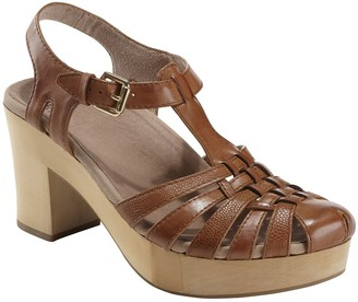 Earth Leather Platform Sandals - Oak Cerris