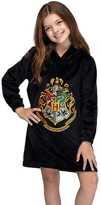 Intimo Girls' One-Piece Pajamas - Harry Potter Black Hogwarts Sherpa Hooded Nightgown - Girls