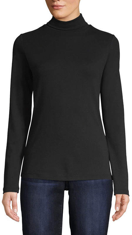 ST. JOHN'S BAY Womens Turtleneck Long Sleeve T-Shirt