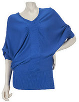 As Is Motto Dolman Sleeve V-Neck Draped Sweater