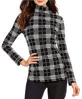 Westbound Mock Neck Long Sleeve Plaid Top