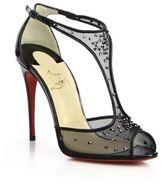 Christian Louboutin Patinana Crystal Mesh T-Strap Sandals