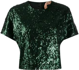 No.21 sequinned T-shirt top