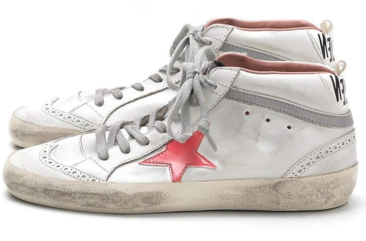 Golden Goose Mid Star Sneaker in White Used/Pink Patent Star