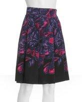 purple floral silk 'Samantha' skirt