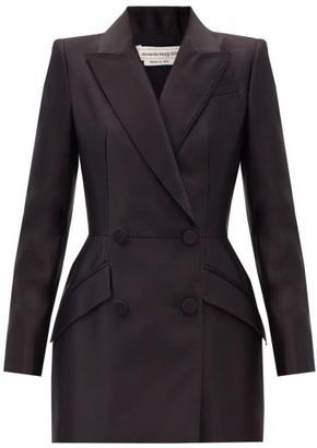 Alexander McQueen Double-breasted Silk-satin Suit Jacket - Black
