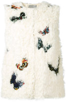 Valentino butterfly embroidered gilet - women - Silk/Cotton/Polyester/Lamb Fur - 40