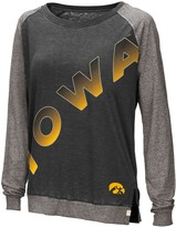 Colosseum Women's Black Iowa Hawkeyes Binding Diagonal Long Sleeve Raglan T-Shirt