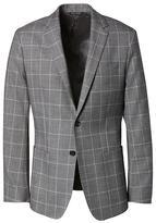 Banana Republic Slim Gray Windowpane Italian Wool-Cotton Suit Jacket