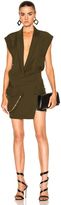 Alexandre Vauthier Japanese Crepe Deep V Wrap Dress
