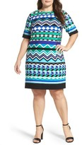 Eliza J Plus Size Women's Graphic Print Shift Dress
