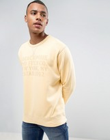 Abercrombie & Fitch Oversized Burnout Print Crew Neck Sweatshirt In Yellow
