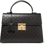 Gucci Padlock Embossed Leather Tote - Black