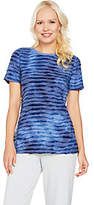 As Is H by Halston Short Sleeve Tie Dye Textured Knit T-shirt