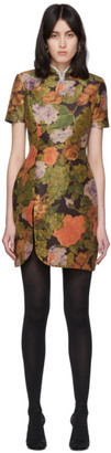 Richard Quinn Brown Floral and Crystal Short Dress