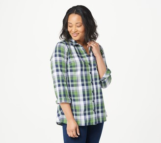 Joan Rivers Classics Collection Joan Rivers Long Sleeve Plaid Shirt with Back Ruffle Detail
