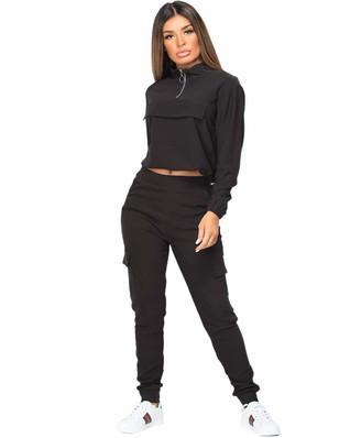 Lexi Fashion Womens Ladies 2pc Utility Combat Flap Pocket Joggers Active Casual Cropped Drawstring Zip Top Loungewear Tracksuit Co Ord Set Black UK Size L/XL-12/14