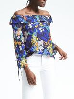 Banana Republic Easy Care Floral Off-Shoulder Top