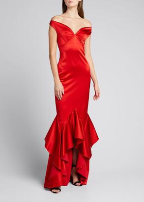 Chiara Boni Satinos Off-the-Shoulder Godet Hem Satin Gown