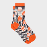 Paul Smith Women's Orange And Navy Striped-Dot Socks
