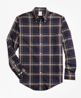 Brooks Brothers Non-Iron Regent Fit Navy and Gold Plaid Sport Shirt
