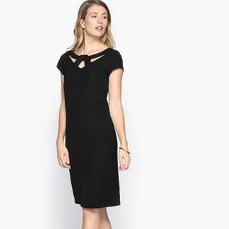 Anne Weyburn Stretch Twill Straight Short-Sleeved Dress