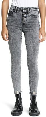 Pistola Denim Aline High Waist Button Fly Acid Wash Skinny Jeans