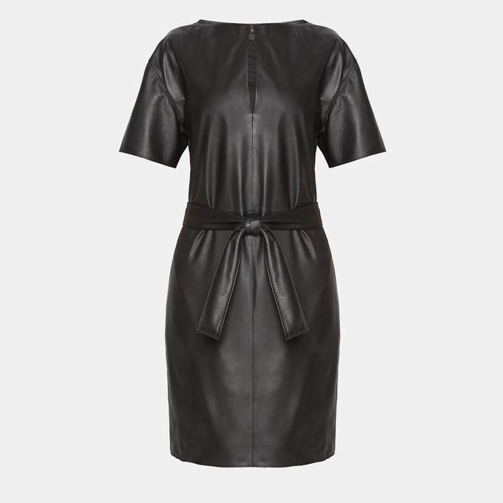 Theory Nappa Belted Shift Dress