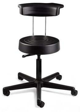 """Latitude Run KAerjeng Height Adjustable Stool with Backrest and Dual-Wheel Hard Floor Casters Color: Black, Size: 51"""" H x 27"""" W x 27"""" D"""