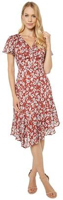 Sam Edelman Flutter Sleeve Asymmetrical Hem (Amber Multi) Women's Dress