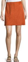 Theory Irenah Metises Suede Mini Skirt, Orange