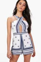 boohoo Lillie Plunge Strappy Border Print Playsuit white