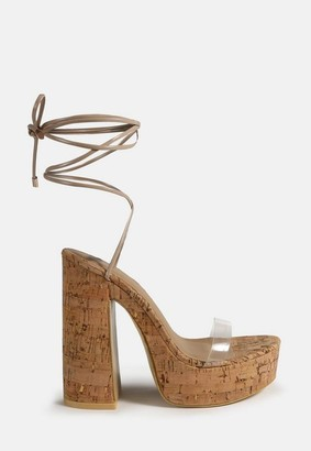 Missguided Nude Cork Heel Chunky Sandals