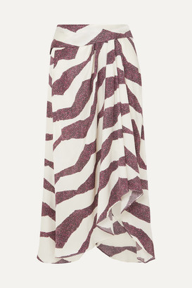 Isabel Marant Rebeca Asymmetric Printed Satin Midi Skirt - Ecru