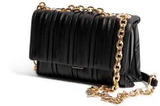 """House of Want """"H.O.W."""" We Slay Small Shoulder Bag In Black Pleated"""