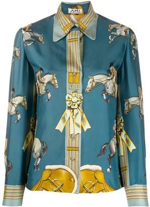 Hermes Pre-Owned Equestrian Print Shirt