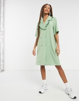 Thumbnail for your product : Monki Marian frill collar mini dress in green