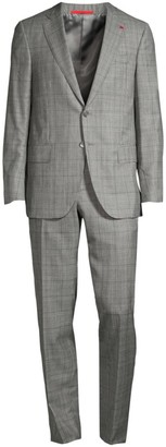 Isaia Abito Wool & Silk Plaid Single-Breasted Suit