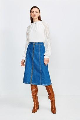Karen Millen Zip Front Denim Midi Skirt