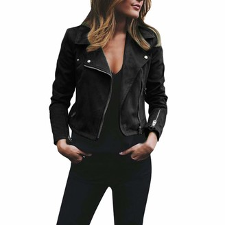 Ashui Womens Ladies Retro Rivet Zipper Up Jacket