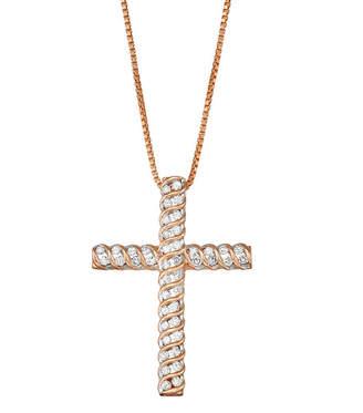 Silver Cross Fine Jewelry Womens 1/2 CT. T.W. Genuine White Diamond Sterling Pendant Necklace