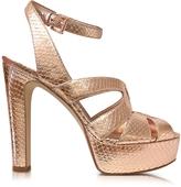Michael Kors Winona Rose Gold Reptile Printed Leather Platform Sandal